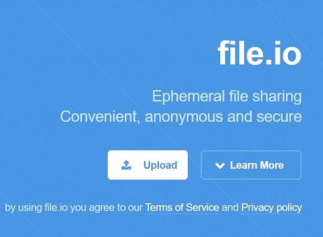 File.io Top Best Anonymous file sharing websites