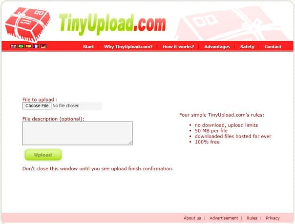 Tiny Upload, Top Best Anonymous File Sharing Websites